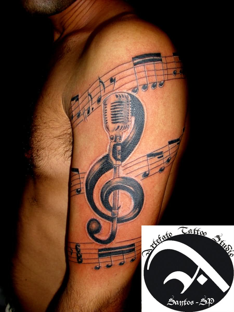 22 Microphone And Music Notes Tattoo within dimensions 900 X 1200