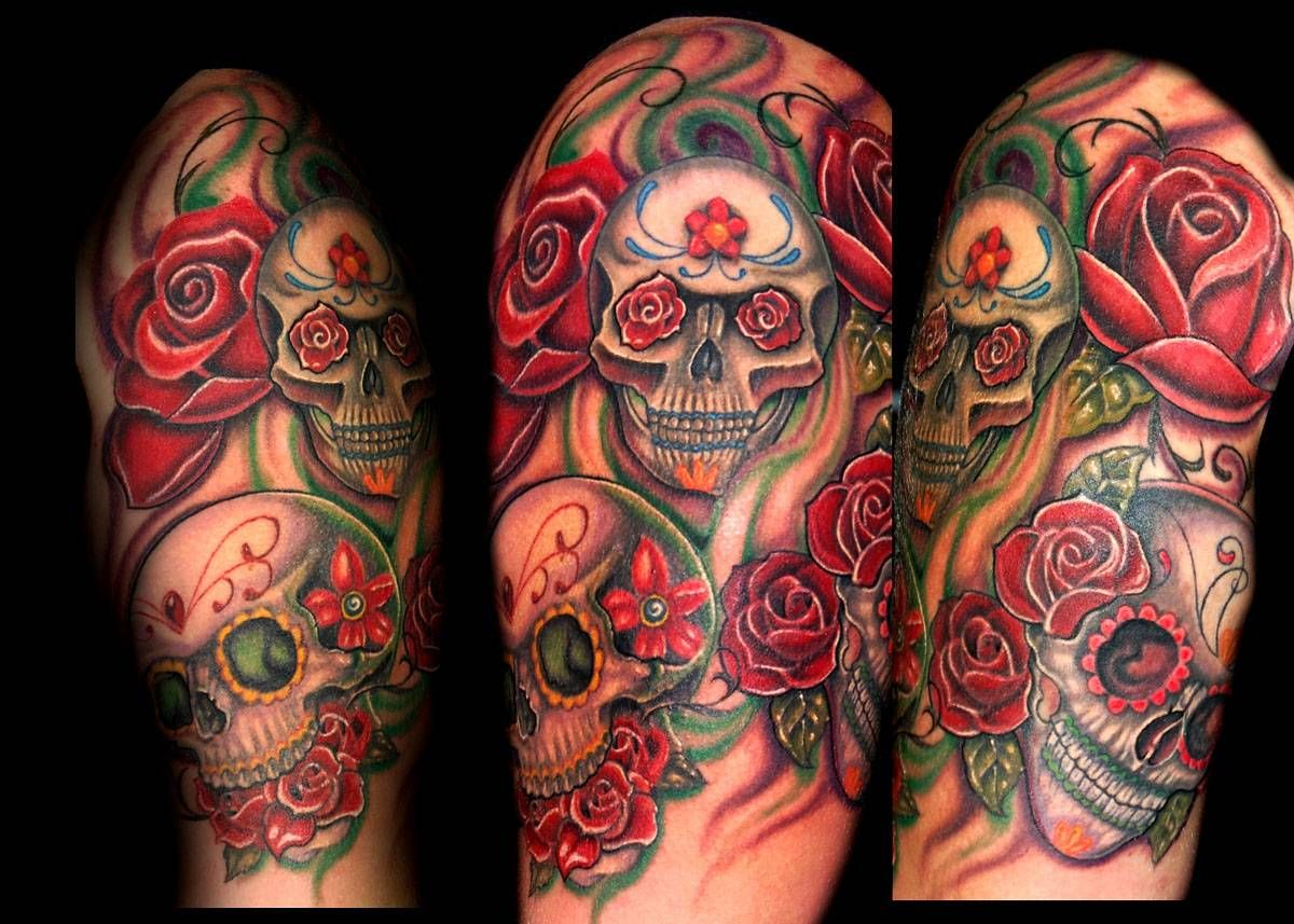 Candy Skull Half Sleeve Tattoos Half Sleeve Tattoo Site