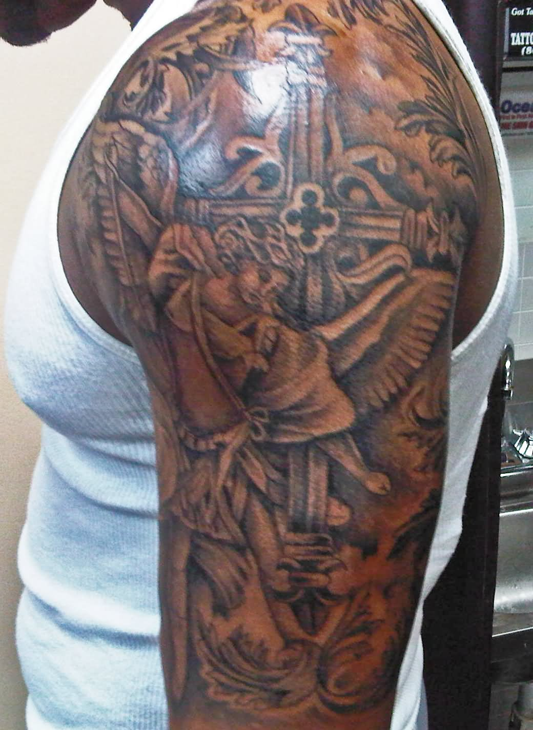 31 Best Christian Tattoos On Half Sleeve with regard to proportions 1040 X 1424