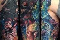 Amazing Star War Fighting Scene Tattoo On Half Sleeve Star Wars in size 1024 X 1024