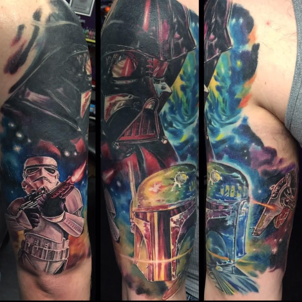 Amazing Star War Fighting Scene Tattoo On Half Sleeve Star Wars pertaining to proportions 1024 X 1024
