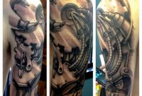 Beautiful Grey Ink Biomechanical Sleeve Tattoo For Men Ideas For for proportions 1024 X 1024