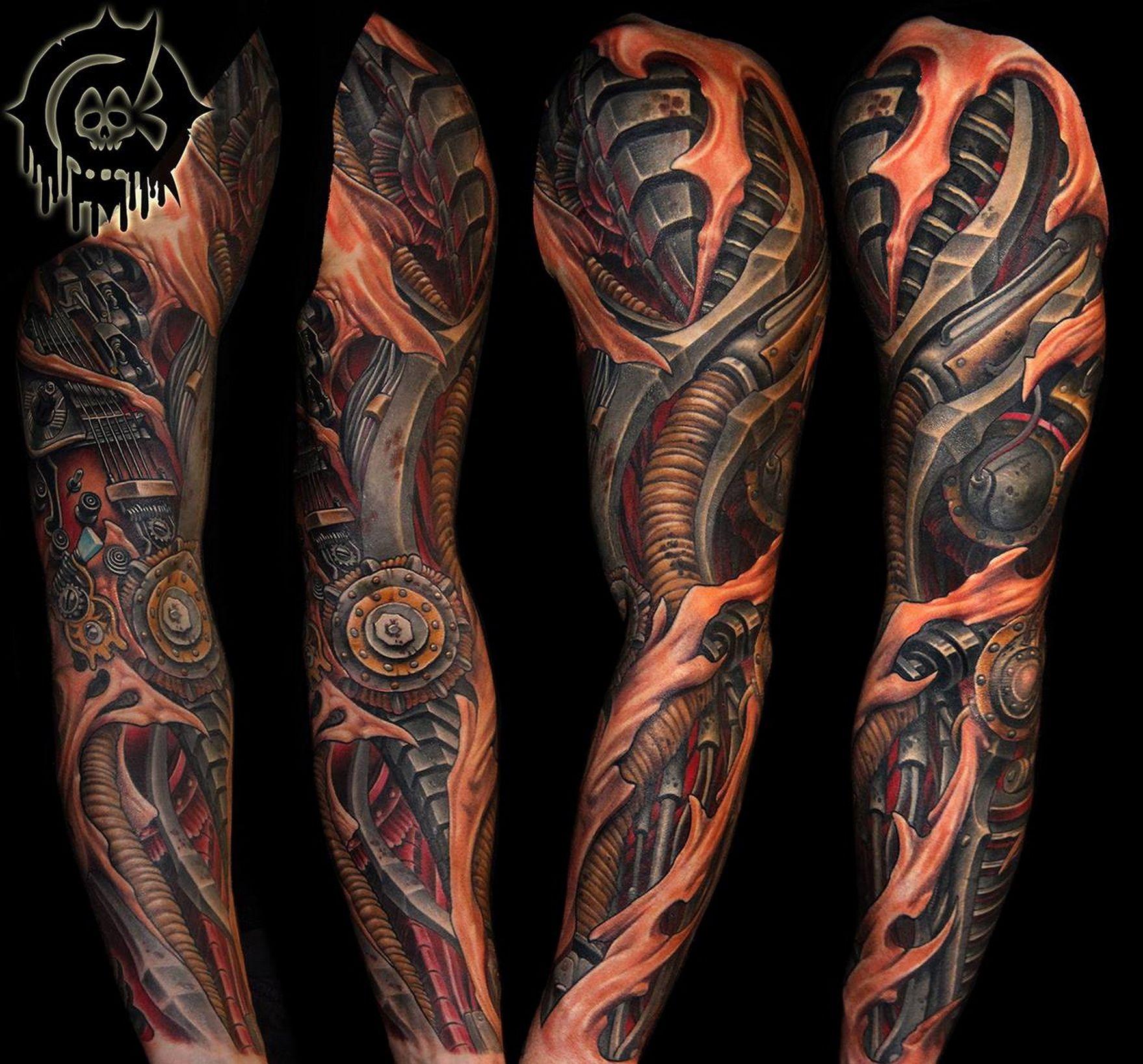 Biomechanical Tattoo Sleeve Julian Siebert Biomechanical throughout sizing 1758 X 1637