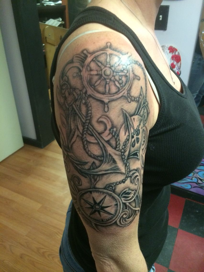 Black And Grey Compass Tattoo Nautical Tattoo Half Sleeve with regard to size 852 X 1136
