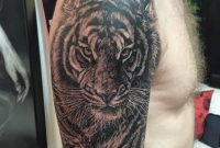 Black Ink Tiger Tattoo On Man Right Half Sleeve throughout proportions 960 X 960