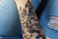 Black Rose Forearm Tattoo Ideas For Women Realistic Floral Flower within size 1228 X 2048
