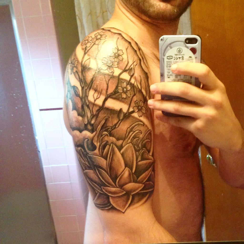 Cherry Blossom Lotus Start Half Sleeve Tattoo Done Dan At Black with sizing 1024 X 1024