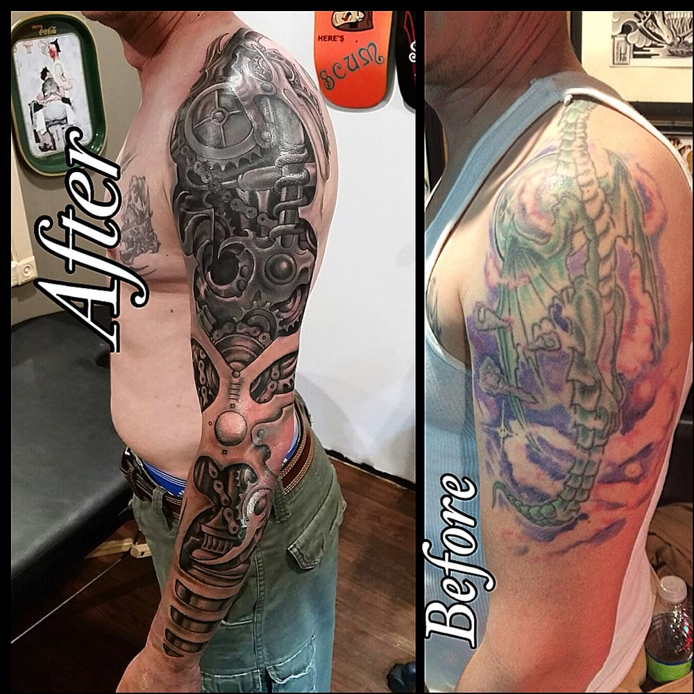 Cover Up Steam Punk Style Sleeve Tattoo Done Big Phil Yelp with sizing 1000 X 1000