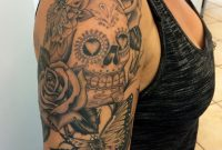 Dia De Los Muertos Skull With Roses And Butterfly Tattoo On Right with regard to measurements 1572 X 2096