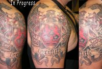 Dragons And Family Crest Tattoo On Half Sleeve in measurements 2836 X 1324