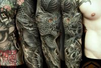 Full Sleeve Tattoo Is Completed With A Black Dragon Representing pertaining to proportions 1080 X 1080