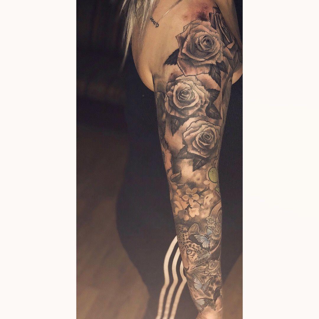Fullsleeve Rose Rosetattoo Mmg Skull Butterfly Sleeve Tattoo inside size 1080 X 1080