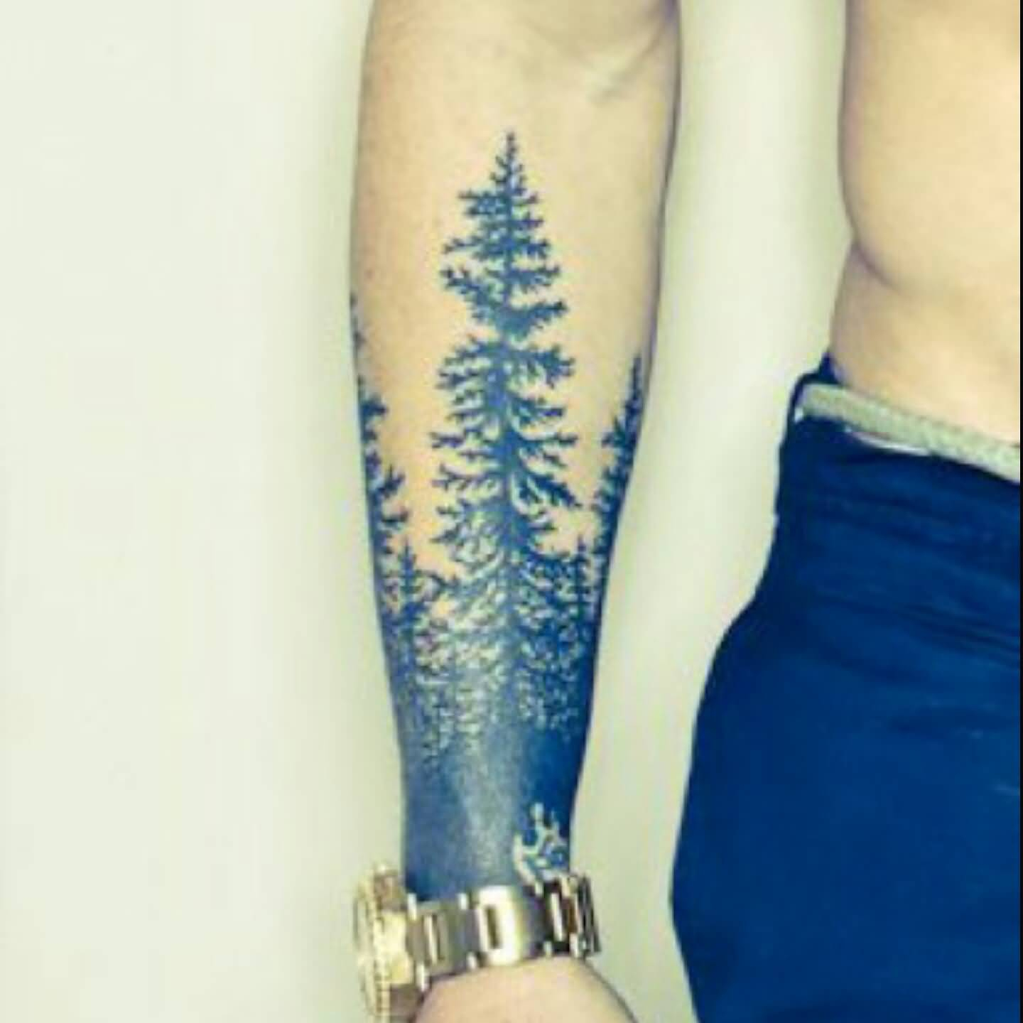 Golden Watch Men Show Lower Sleeve Simple Forest Tree Tattoo with sizing 1440 X 1440