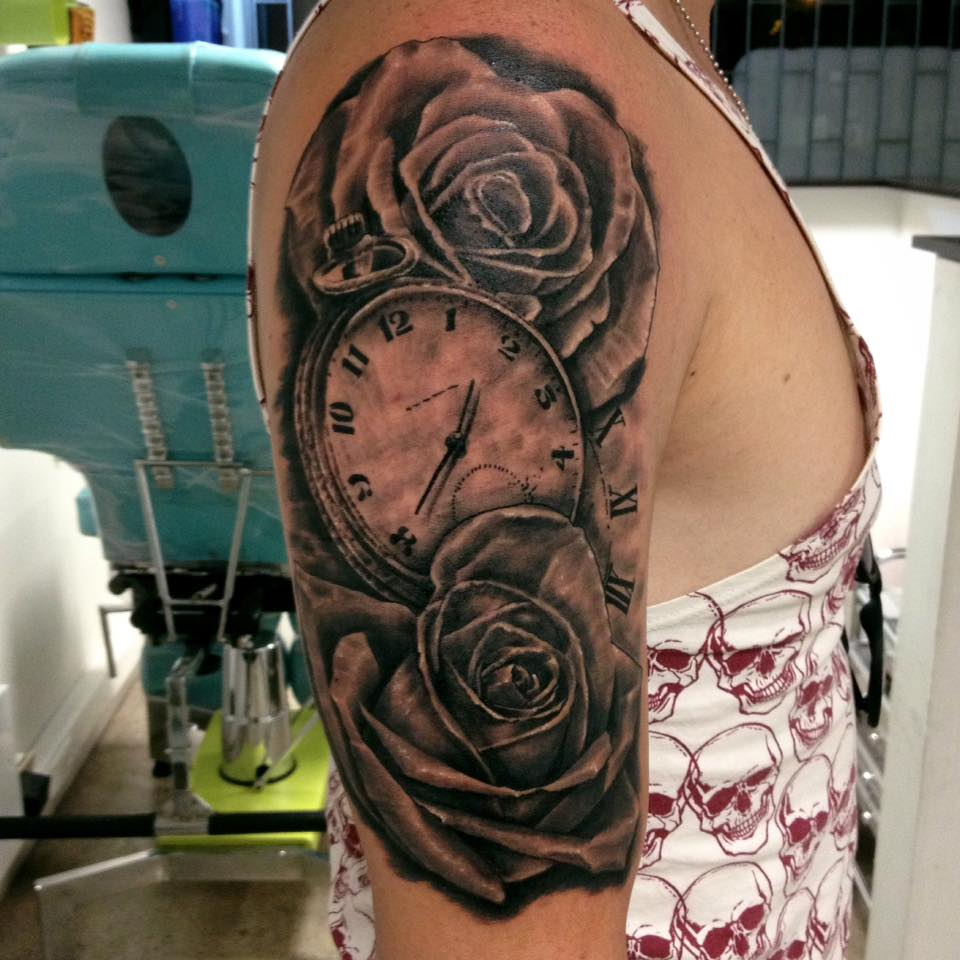 Grey Rose Flowers And Watch Tattoo On Right Half Sleeve Daniel Rozo in size 960 X