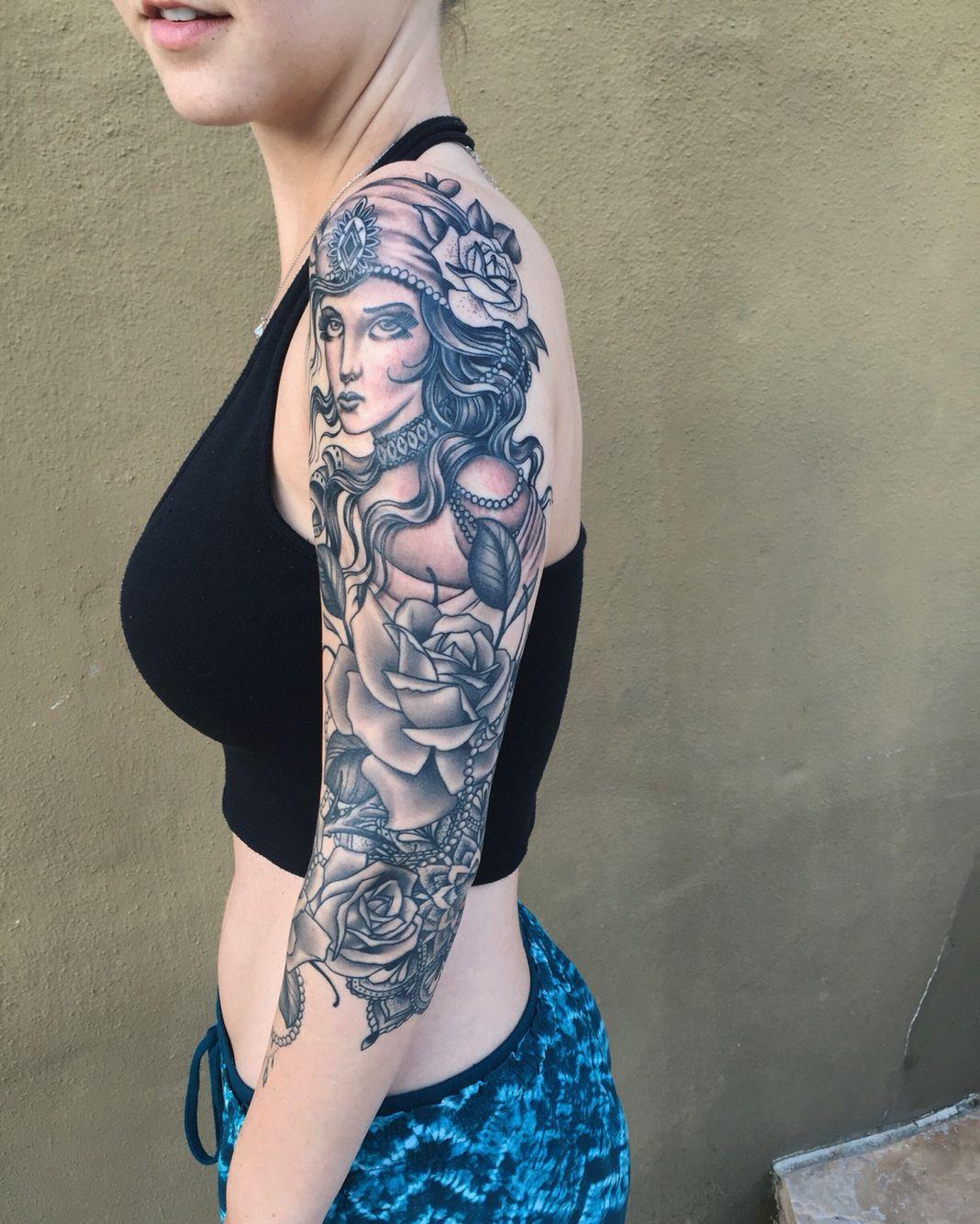 Gypsy Woman Tattoo Sleeve • Half Sleeve Tattoo Site