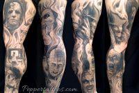 Horror Movie Leg Sleeve Pepper Tattoonow regarding sizing 1144 X 800