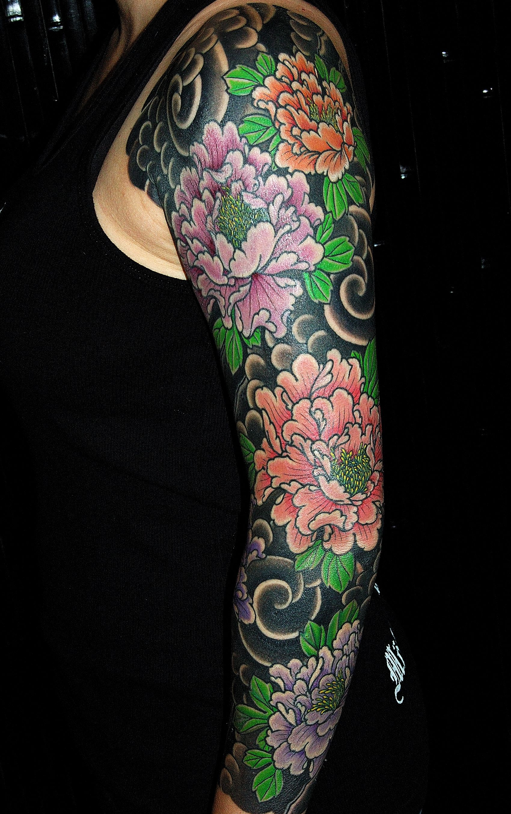 Japanese Style Tattoo Sleeve Of Peonies Dana Helmuth Tattoos with size 1700 X 2708