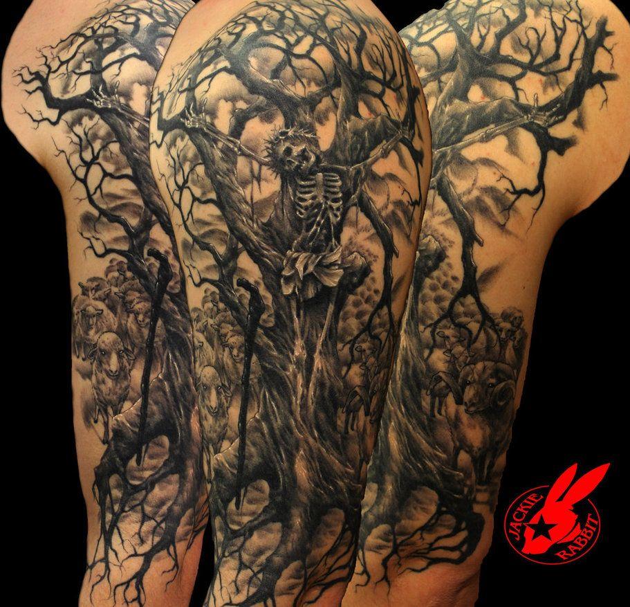 a96c6b8d4c9ea Jesus Tree Sleeve Tattoo Jackie Rabbit Jackierabbit12 for size 911 X 877
