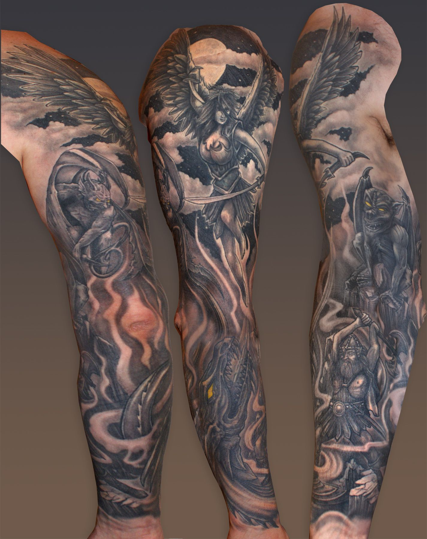 Kptallat A Kvetkezre Sleeve Tattoos Designs Heaven And Hell for measurements 1425 X 1800