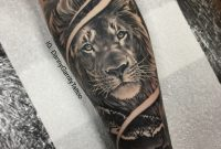 Mens Forearm Sleeve Tattoo Lion With Silhouette In Realism with proportions 1818 X 1818