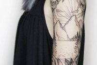 Mountain And Floral Black White Sleeve Tattoo in dimensions 780 X 1080