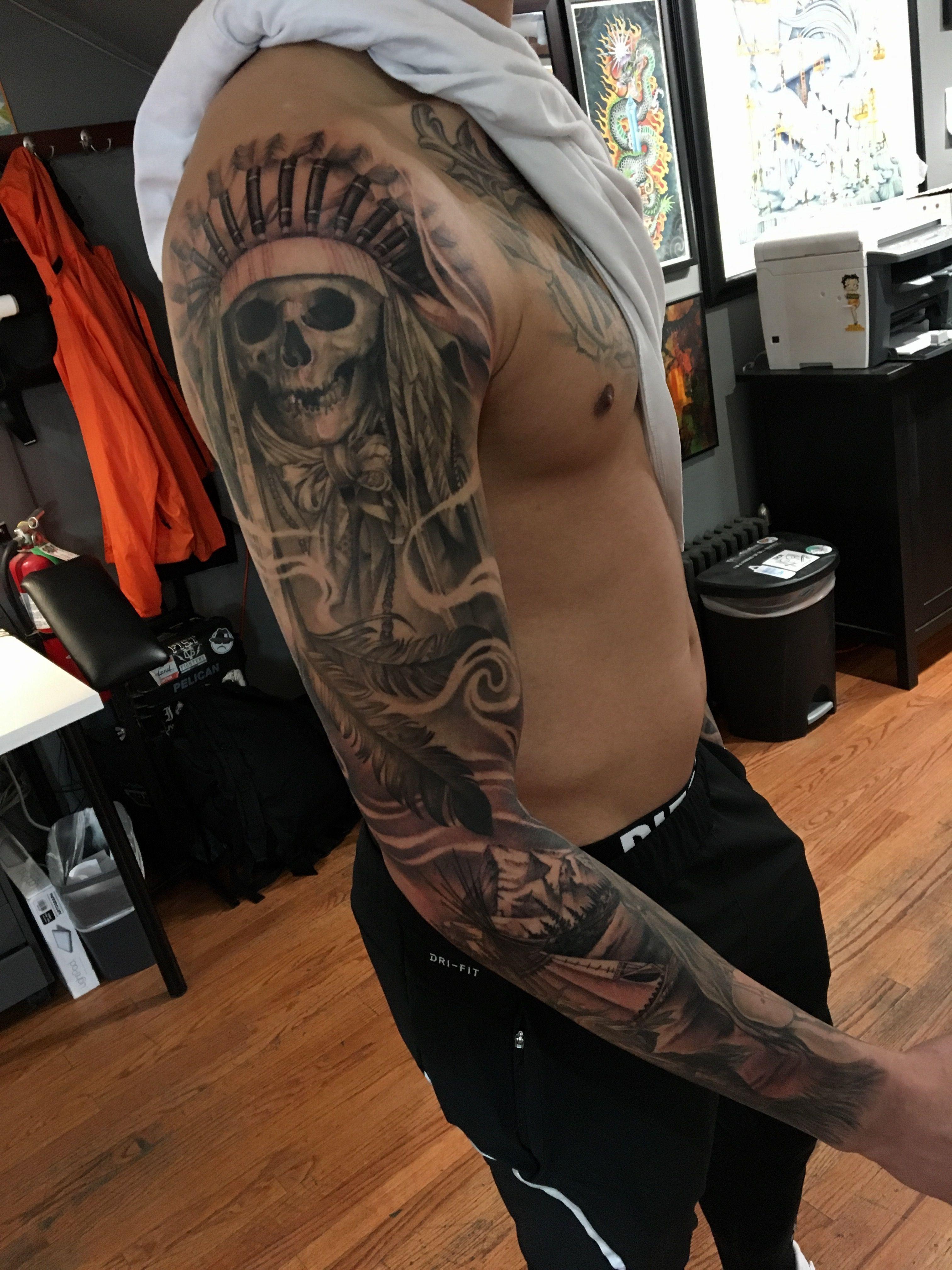 American Indian Sleeve Tattoo Designs Half Sleeve Tattoo Site