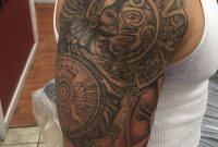 Nice Grey Aztec Tattoo On Man Right Half Sleeve throughout size 994 X 1080