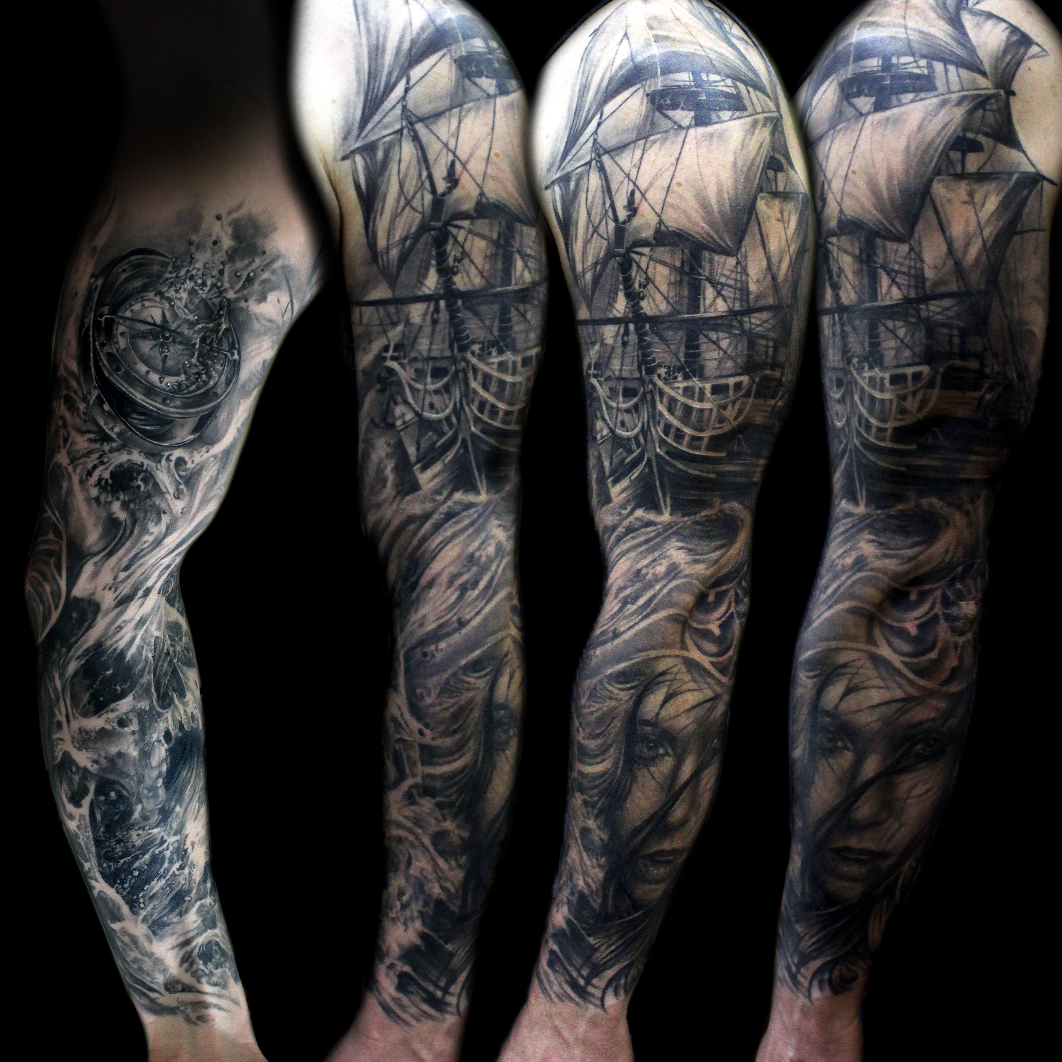 Ocean Ship Compass Sleeve Tattoo Mancia Stygian Gallery in measurements 3600 X 3600