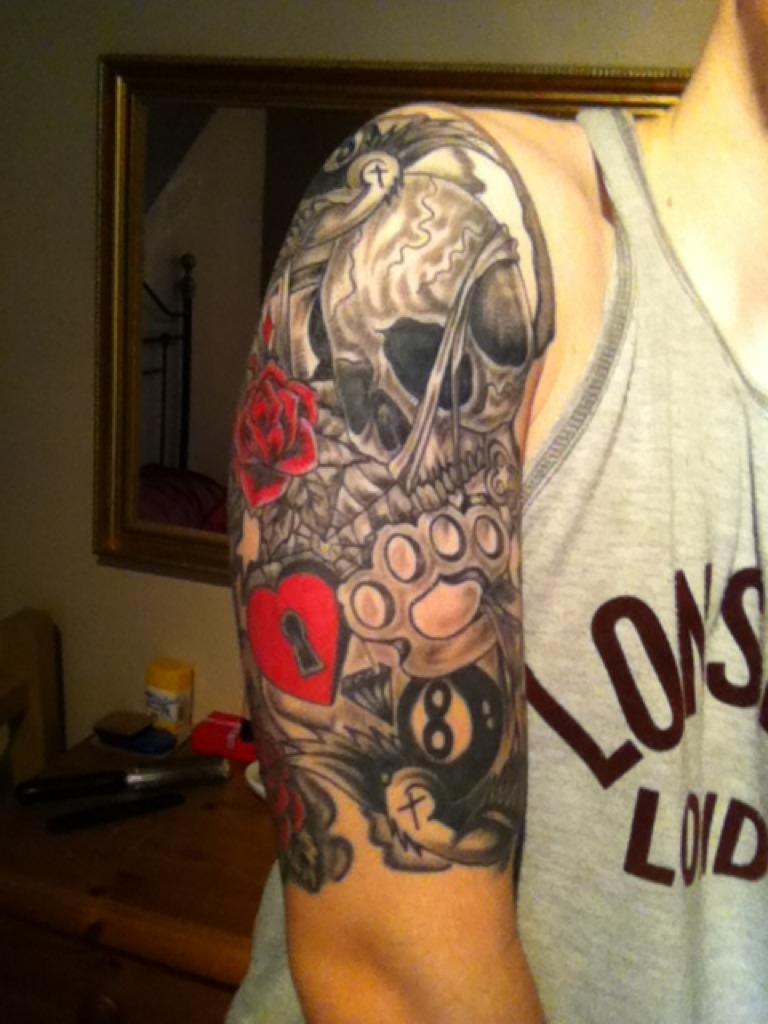 Old School Half Sleeve Tattoo with size 768 X 1024
