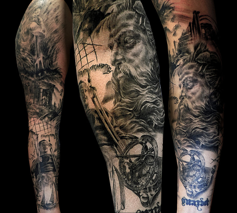 Poseidon Sleeve Tattoo Facundo Pereyra On Deviantart with regard to sizing 944 X 846