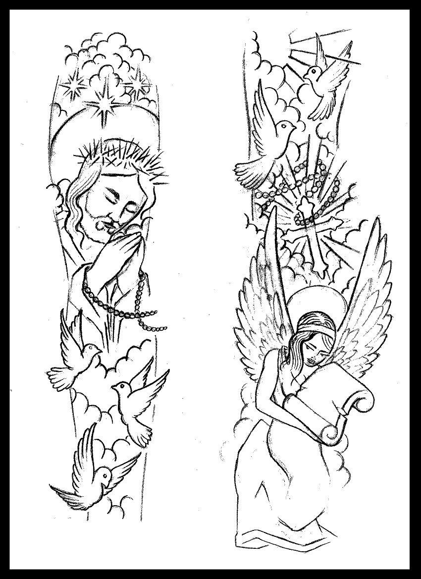 Religious Sleeve Tattoo Design Thirteen7sdeviantart On for proportions 850 X 1169