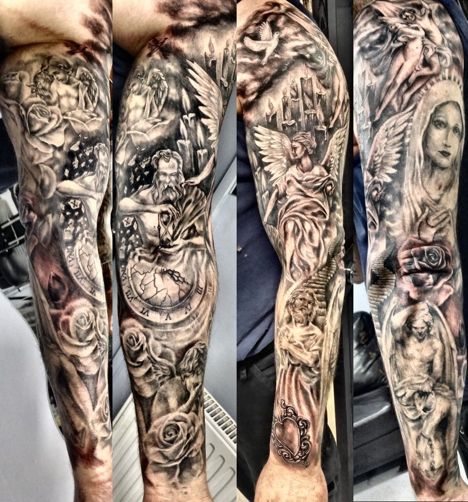 Religious Tattoo Ideas For Sleeves Half Sleeve Tattoo Site