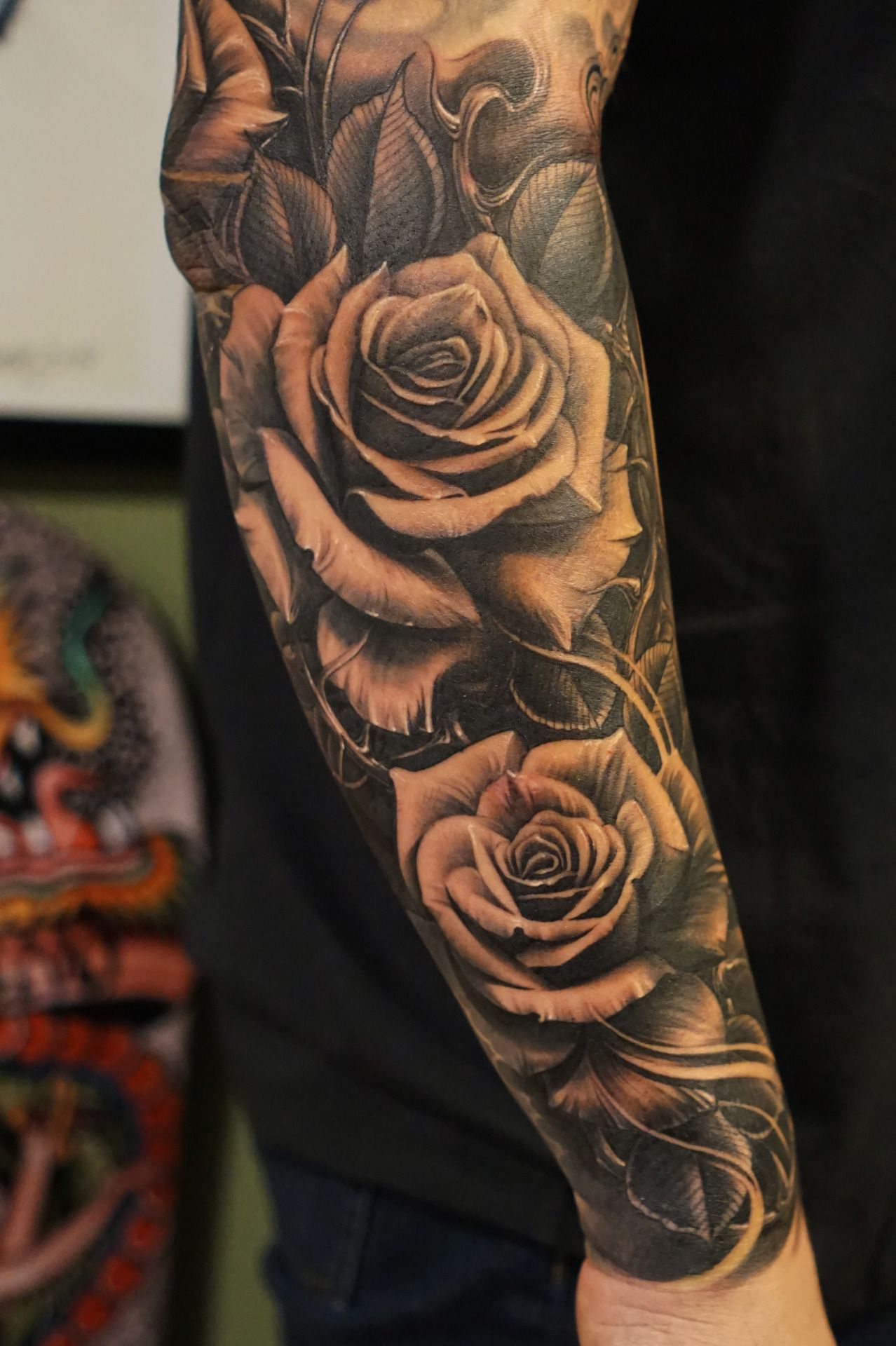 Black Rose Tattoo Sleeve Half Sleeve Tattoo Site
