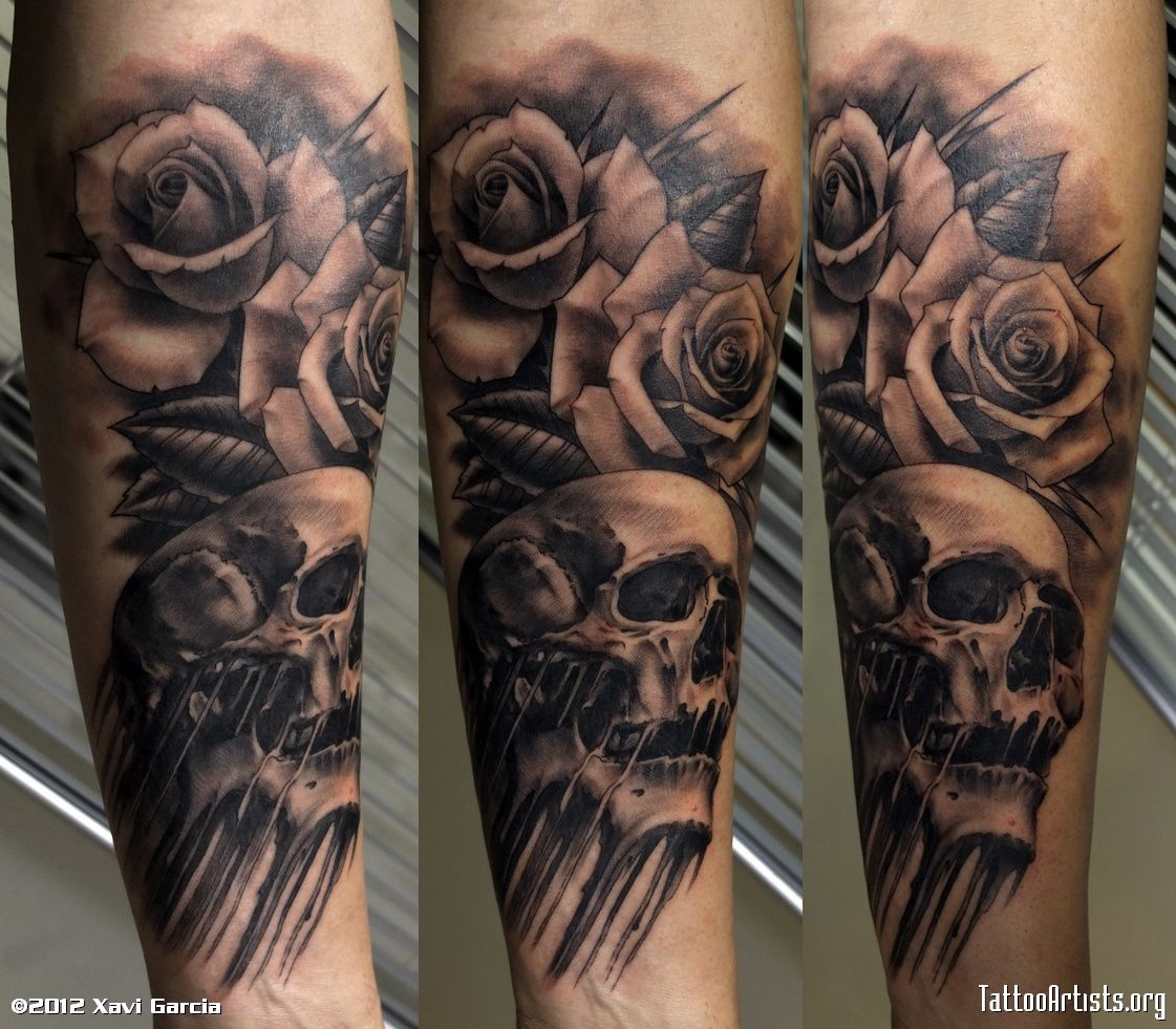 Skull And Flames Sleeve Tattoos Rose Flowers And Skull Tattoo On intended for dimensions 1121 X 981