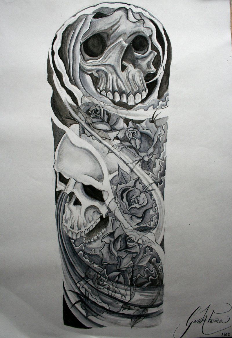 Skull Roses Sleeve Tattoo Designs Half Sleeve Tattoo Site