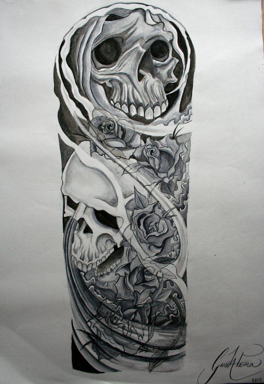 Skull Roses Sleeve Tattoo Designs Half Sleeve Tattoo Site