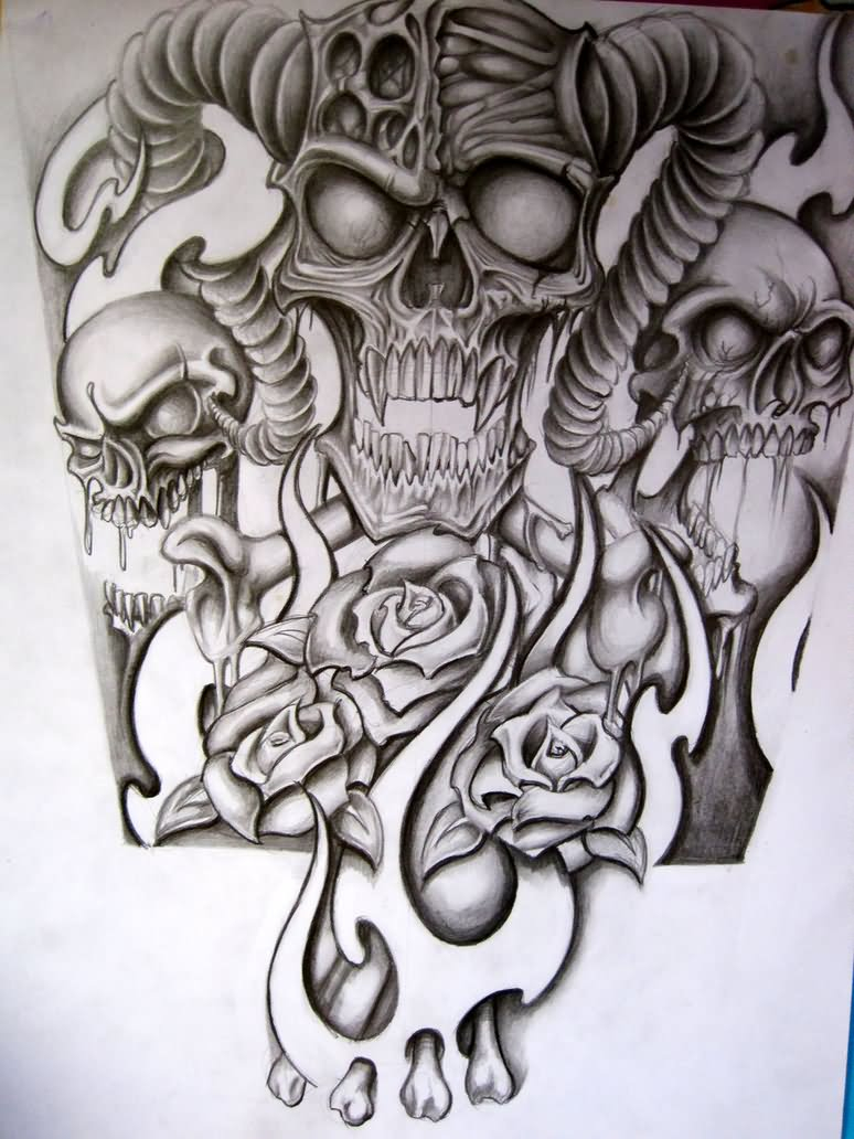 Skull Sleeve Drawing At Getdrawings Free For Personal Use in sizing 774 X 1032