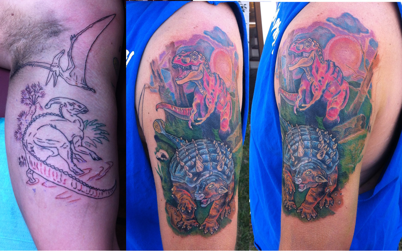 Stage 2 Dinosaur Half Sleeve Jake Walsh The Brass Quill pertaining to sizing 1323 X 825