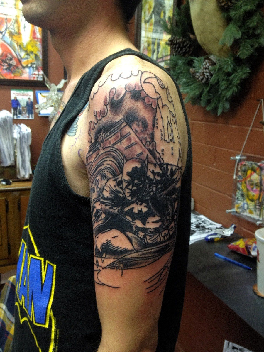 The Start Of My Batman And Joker Sleeve Done Luke Goodell At High within dimensions 900 X 1200