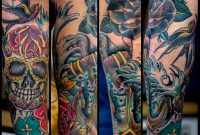 Traditionalish Nautical And Day Of The Dead Half Sleeve Tattoo within proportions 960 X 833
