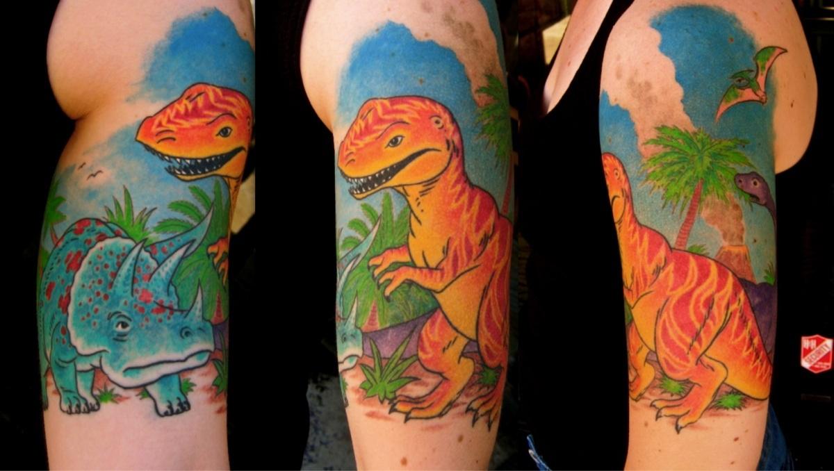 Vintage Dinosaur Half Sleeve Designed And Done Graham Chaffee inside size 1200 X 678