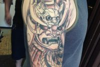 Wonderful Black Ink Samurai Warrior Head Tattoo On Man Right Half Sleeve inside proportions 1080 X 1080