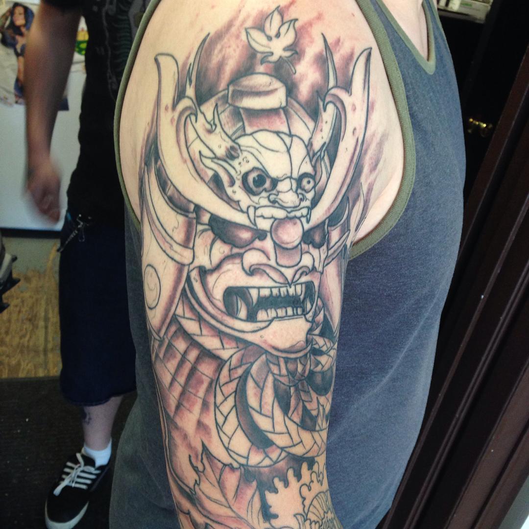 Wonderful Black Ink Samurai Warrior Head Tattoo On Man Right Half Sleeve inside proportions 1080 X 1080