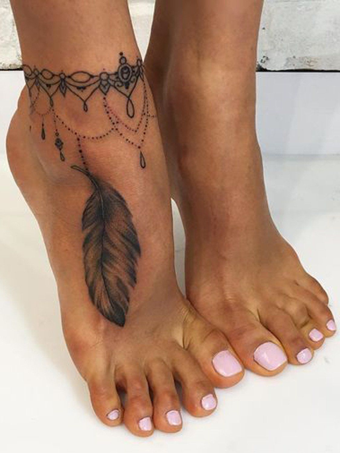 20 Feather Tattoo Ideas For Women Tattoo Anklet Tattoos Foot inside dimensions 1124 X 1500