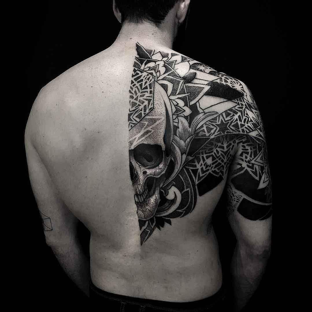 Dotwork Skull Half Back Tattoo Tattoo Back Tattoo Tattoos Und inside dimensions 1080 X 1080