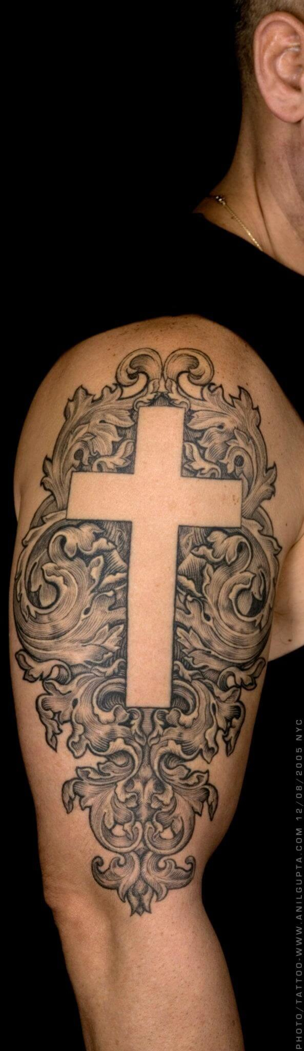56 Best Cross Tattoos For Men Improb pertaining to proportions 593 X 2048