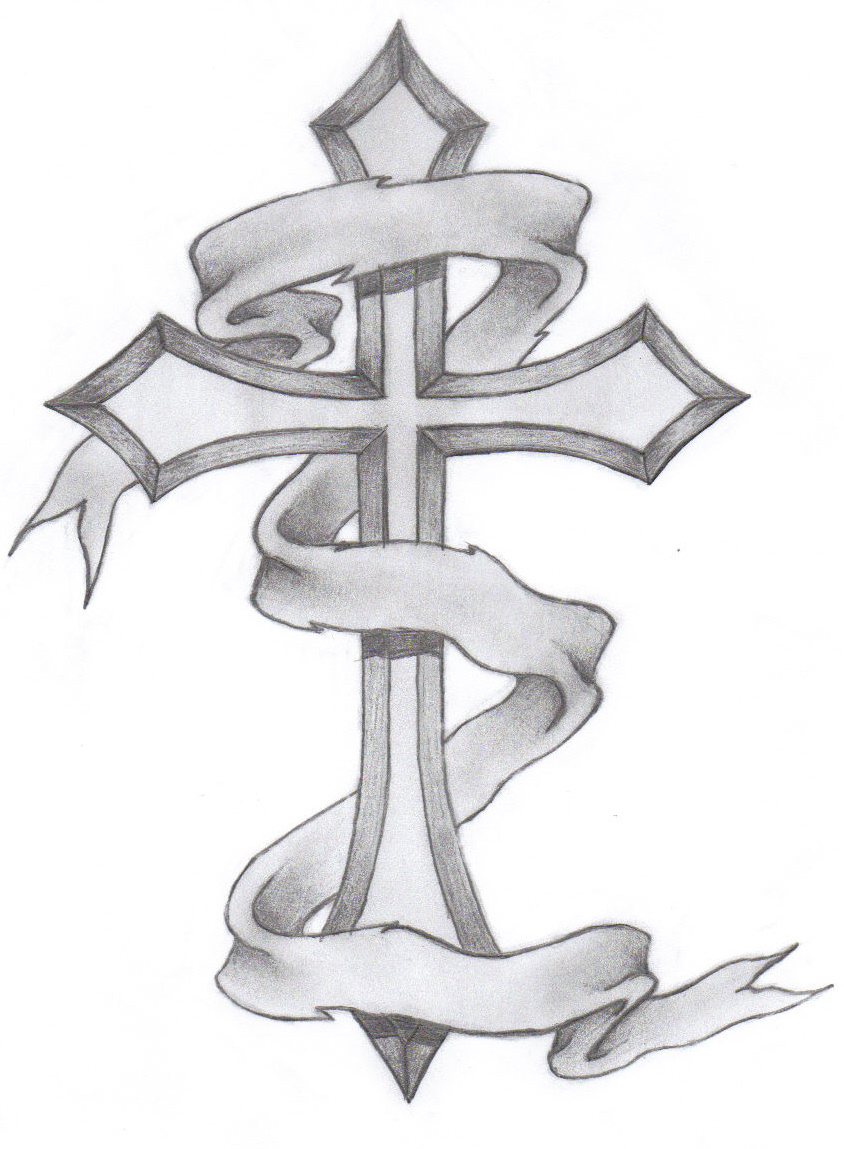 Banner With Cross Tattoo Design intended for sizing 844 X 1149