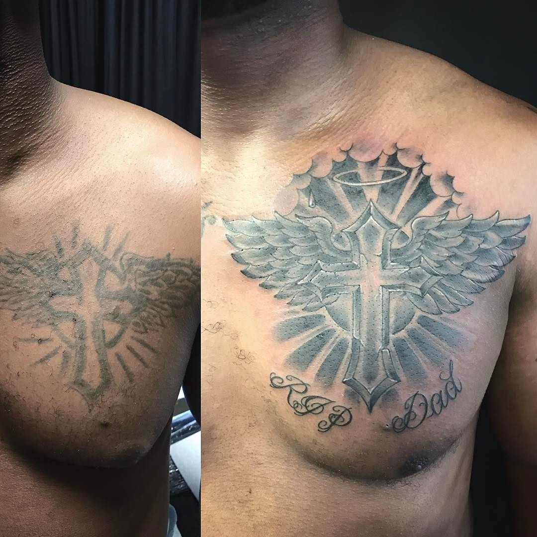 Before And After Chest Tattoo Recovery Fix Up Or Cover Up Cross within proportions 1080 X 1080