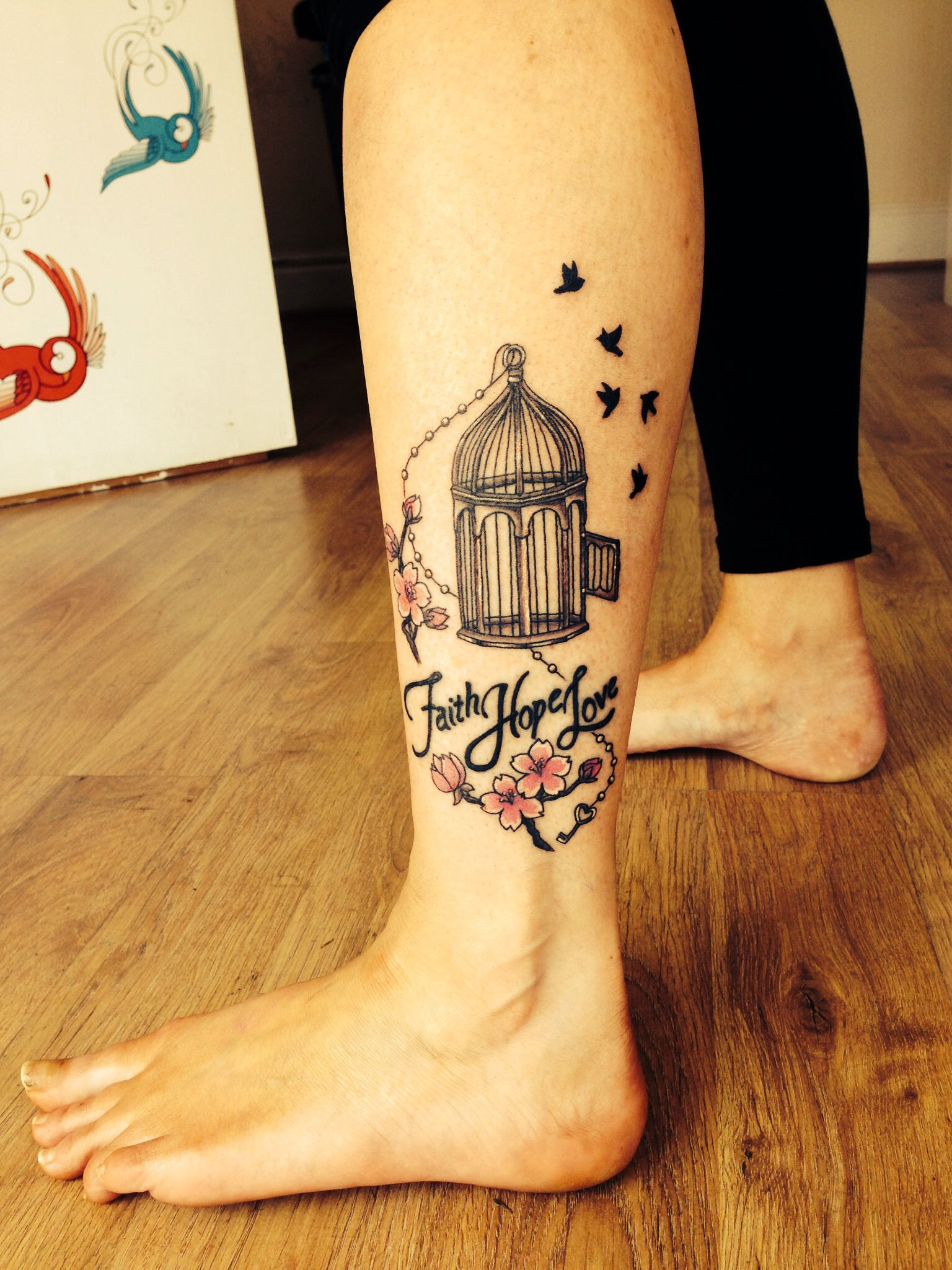 Bird Cage Tattoo Mini Bird Cage With Birds And Faith Love Hope regarding proportions 1536 X 2048