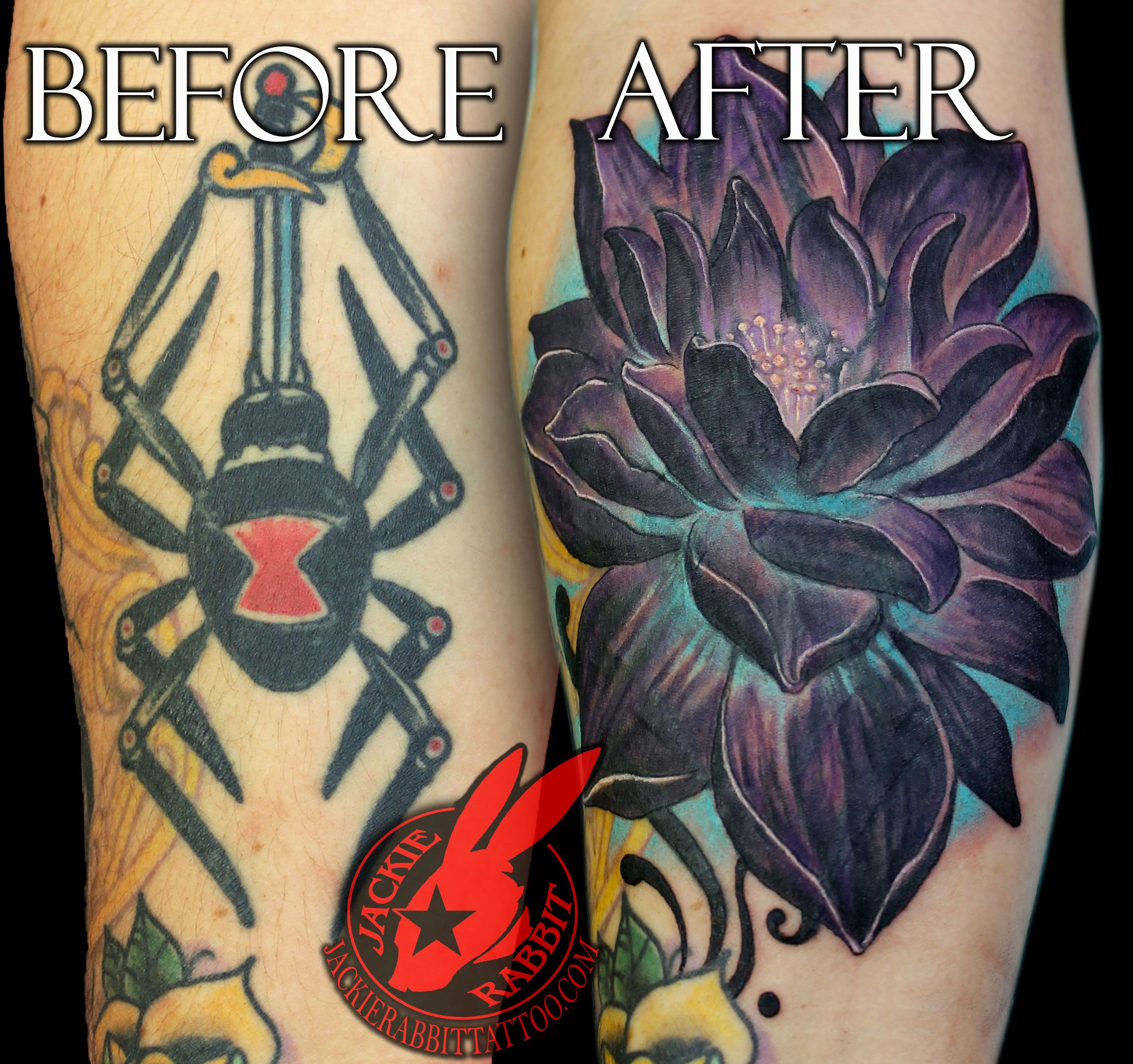 Black Lotus Blue Flower Color Cover Up Realistic 3d Tattoo Jackie with regard to proportions 2550 X 2395